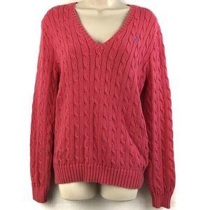 Ralph Lauren Sport Cable Knit V neck Sweater XL
